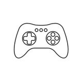 Isolated black outline gamepad, game controller, joystick, console on white background. Line icon. Royalty Free Stock Photos