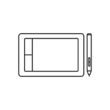 Isolated black outline graphic tablet with stylus on white background. Line icon. Isolated black outline graphic tablet with stylus on white background. Line Royalty Free Stock Image