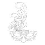 Isolated black outline monochrome ornate decorative venetian mask on white background. Ornament of curve lines. Isolated black outline monochrome ornate Royalty Free Stock Photos