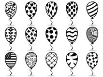 Black pattern balloon icons Royalty Free Stock Image