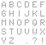Isolated black pixel alphabet made of black arrows made by hand Stock Images