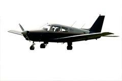 Isolated black plane. Single engine grounded isolated black plane Stock Photos