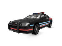 Isolated black police car. Isolated police car on a white background Royalty Free Stock Photo