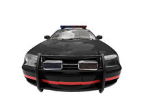 Isolated black police car. Isolated police car on a white background Royalty Free Stock Image