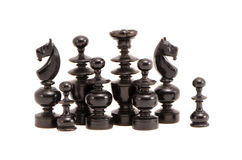 Isolated black retro chessmans group Royalty Free Stock Photography