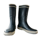 Isolated Black Rubber Boots Royalty Free Stock Photography