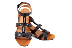 Isolated black sandals Royalty Free Stock Photography
