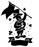 Isolated black silhouette of leprechaun with flag stock images