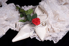 Isolated on black wedding shoe. A pair of isolated on black wedding shoes Stock Photos