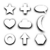 Isolated black and white color abstract dotted contour icons set, simple flat star, cross, speech bubble,heart,cloud. Moon,circle,arrow,hexagon signs collection Stock Images