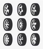 Isolated black and white color alloy wheels logo collection, car elements logotype set vector illustration. Isolated black and white color alloy wheels logo Stock Photography