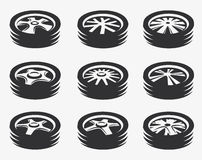 Isolated black and white color alloy wheels logo collection, car elements logotype set vector illustration. Isolated black and white color alloy wheels logo vector illustration