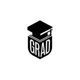 Isolated black and white color bachelor hat of books logo on white background, students graduation uniform logotype Royalty Free Stock Photo