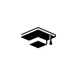 Isolated black and white color bachelor hat of books logo on white background, students graduation uniform logotype Royalty Free Stock Images