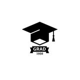 Isolated black and white color bachelor hat with word grad logo, students graduation uniform logotype, education element Royalty Free Stock Photos