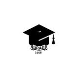 Isolated black and white color bachelor hat with word grad logo, students graduation uniform logotype, education element Royalty Free Stock Images