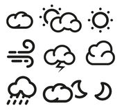 Isolated black and white color elements of weather forecast icons collection in lineart style. Isolated black and white color elements of weather forecast icons Royalty Free Stock Image