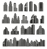 Isolated black and white color skyscrapers in lineart style icons collection, cityscape of architectural buildings Stock Photo