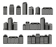 Isolated black and white color skyscrapers and low rise houses in lineart style icons collection, cityscape of Stock Photos