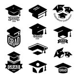 Isolated black and white color students graduation hat logo collection, mortarboard of books logotype set, university Stock Photo