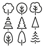 Isolated black and white color trees in lineart style set, forest,park and garden flat signs collection. Stock Photography