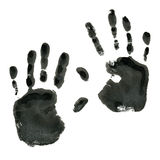 Isolated Black and white handprint. Isolated illustration on white background. Black imprint of a human hand. Ink stamp with his fingers Stock Images
