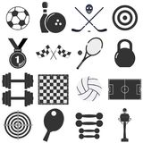 Isolated black and white sports object icons. Icons sports items. Stock Image