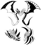 Isolated black winged Dragon tattoo Royalty Free Stock Photography
