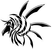 Isolated black winged Dragon tattoo Royalty Free Stock Images