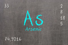 Isolated blackboard with periodic table, Arsenic. Chemistry royalty free illustration
