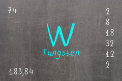 Isolated blackboard with periodic table, Tungsten. Chemistry Royalty Free Stock Photography