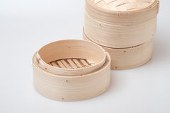 Isolated blank round steamer bamboo basket or crate Stock Images