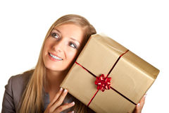 Isolated blond caucasian woman with gifts Stock Photo