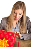 Isolated blond caucasian woman with gifts Stock Image