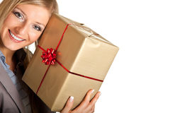 Isolated blond caucasian woman with gifts Royalty Free Stock Photos