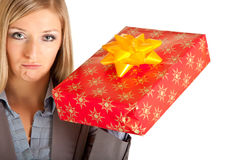 Isolated blond caucasian woman with gifts Stock Photos