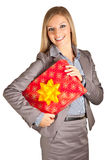 Isolated blond caucasian woman with gifts Royalty Free Stock Image