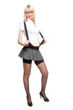 Isolated blond schoolgirl Stock Image