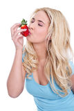 Isolated blond woman holding strawberries Royalty Free Stock Images