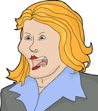 Isolated Blond Yelling. Isolated cartoon of angry blond female yelling Stock Images
