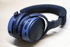 Isolated Blue and black Headphones royalty free stock photo