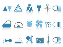 Blue car dashboard icons set Royalty Free Stock Image
