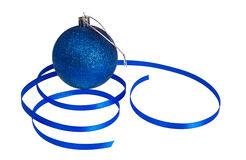 Isolated Blue Christmas Ball and Ribbon Stock Photos