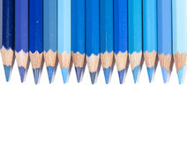 Isolated blue color pencils in line Stock Photo