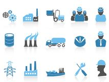 Blue color series industry icons set. Isolated blue color series industry icons set on white background stock illustration