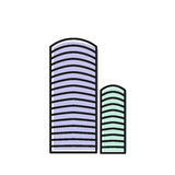 Isolated blue color skyscraper in lineart style icon, element of urban architectural building vector illustration. Stock Images