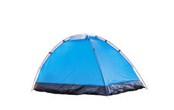 Isolated blue dome tent on white Royalty Free Stock Photo