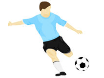 Isolated blue dress soccer player shooting vector Royalty Free Stock Photo