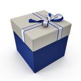 Isolated blue gift box on white. 3D illustration. Isolated blue gift box on white background. 3D illustration Stock Photos