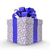 Isolated blue gift box on white. 3D illustration. Isolated blue gift box on white background. 3D illustration Stock Photo